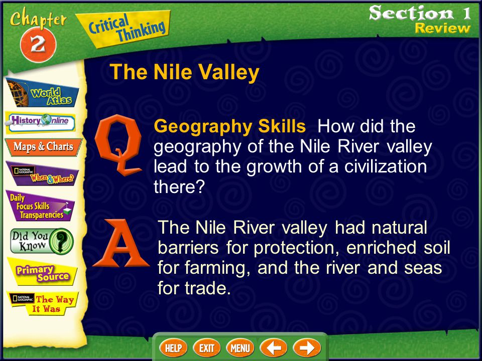 The Nile Valley Geography Skills How did the geography of the Nile River valley lead to the growth of a civilization there