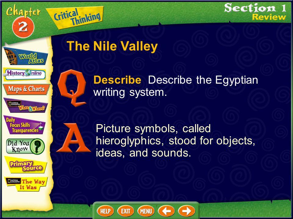 The Nile Valley Describe Describe the Egyptian writing system.