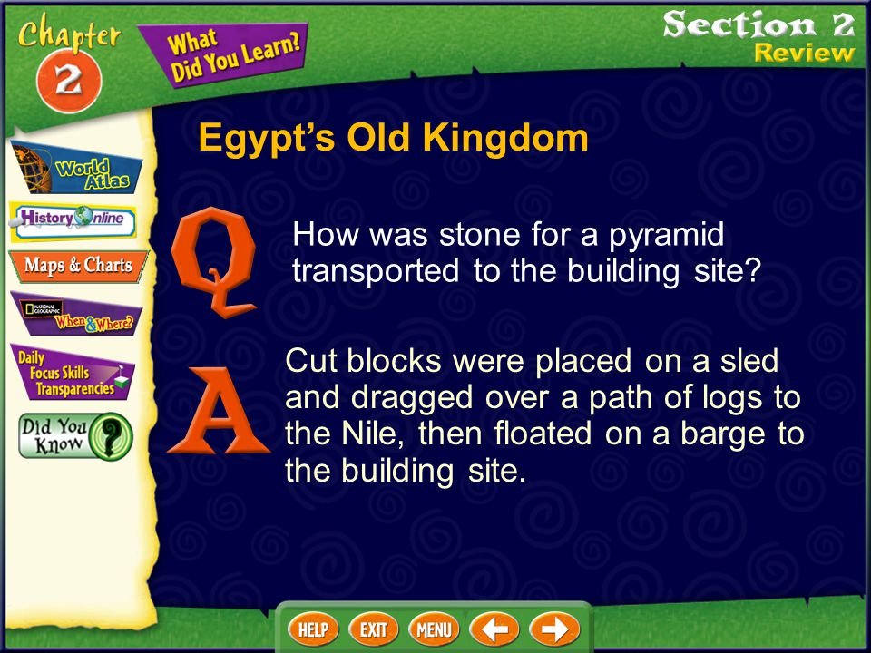 Egypt's Old Kingdom How was stone for a pyramid transported to the building site