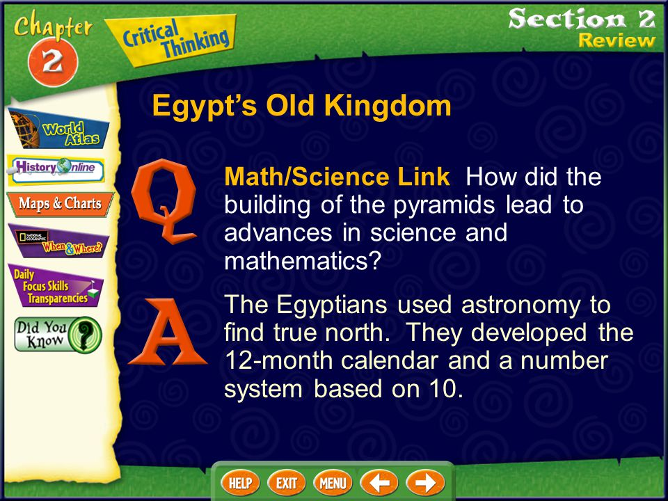 Egypt's Old Kingdom Math/Science Link How did the building of the pyramids lead to advances in science and mathematics
