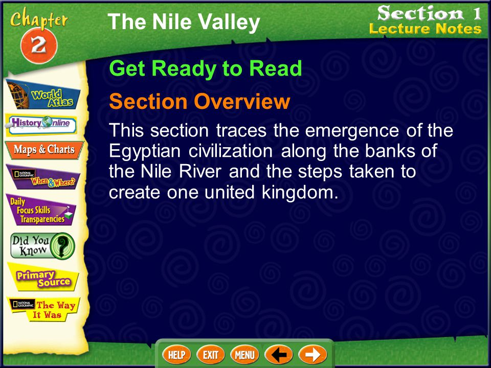 The Nile Valley Get Ready to Read Section Overview