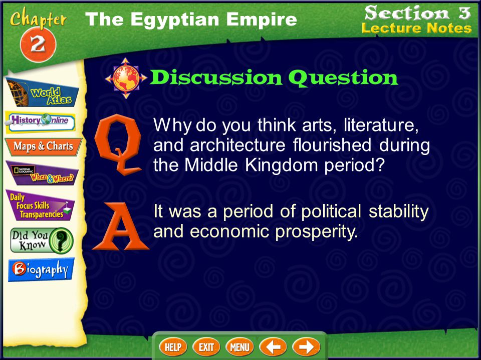 The Egyptian Empire Why do you think arts, literature, and architecture flourished during the Middle Kingdom period