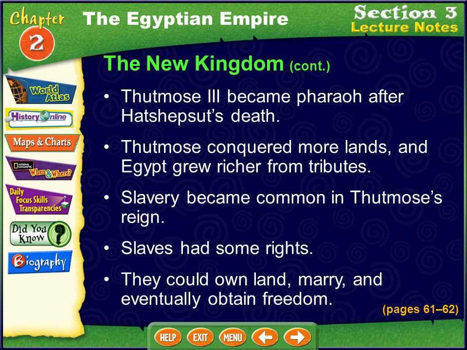 The New Kingdom (cont.) The Egyptian Empire