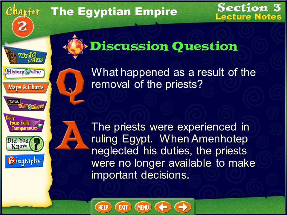 The Egyptian Empire What happened as a result of the removal of the priests