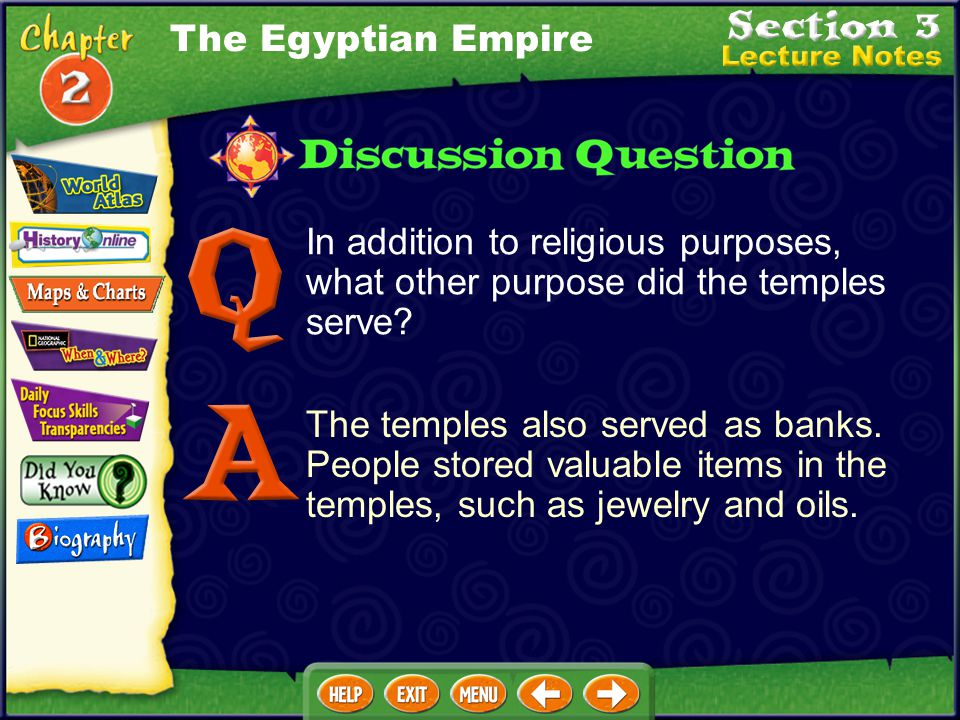 The Egyptian Empire In addition to religious purposes, what other purpose did the temples serve