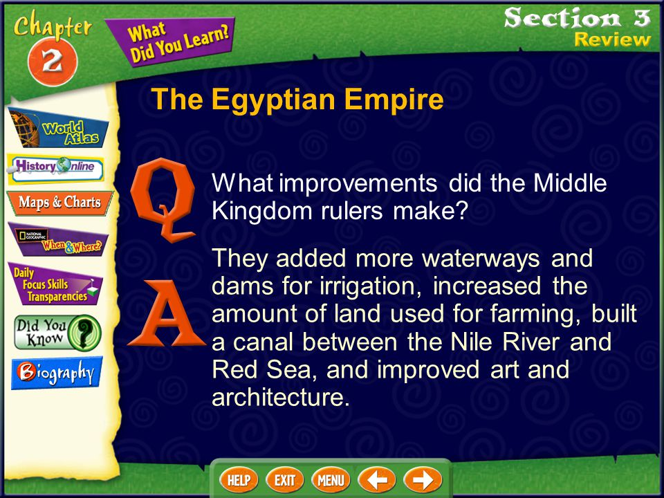 The Egyptian Empire What improvements did the Middle Kingdom rulers make