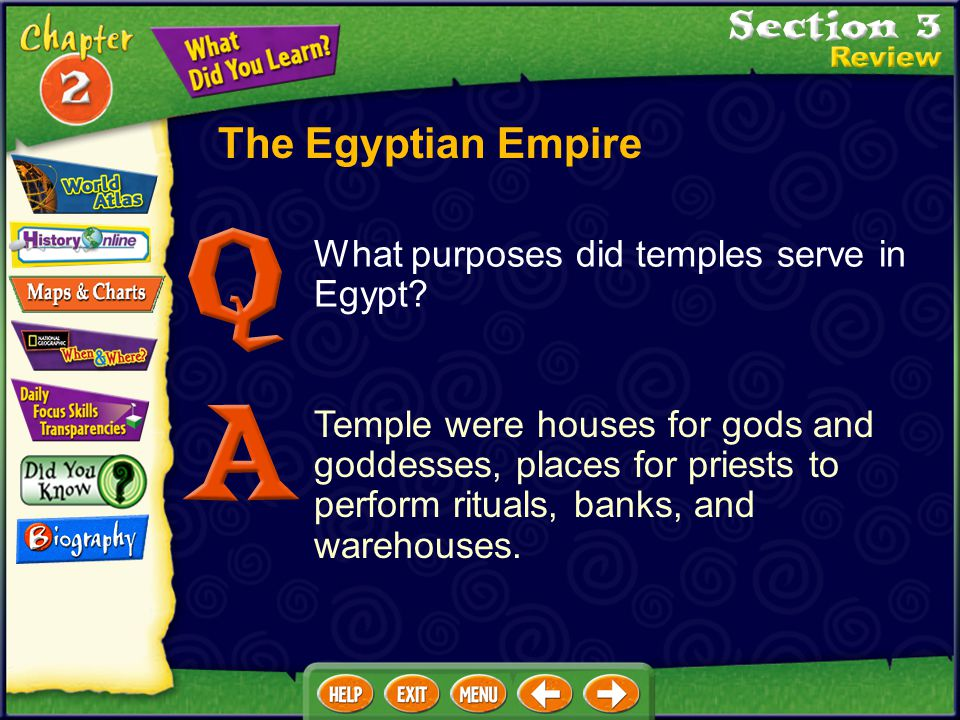 The Egyptian Empire What purposes did temples serve in Egypt