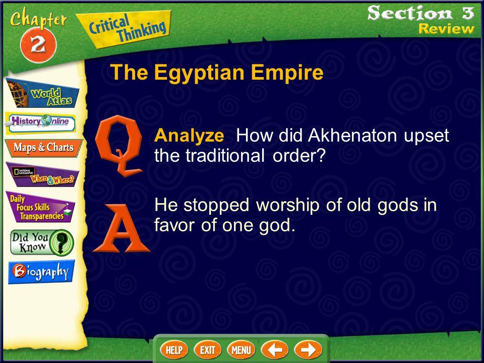 The Egyptian Empire Analyze How did Akhenaton upset the traditional order.