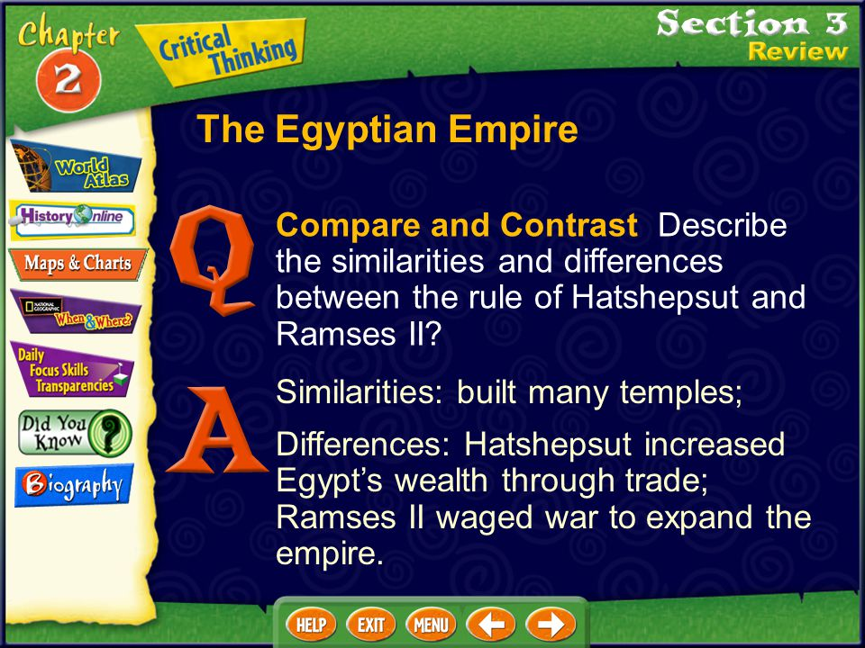 The Egyptian Empire Compare and Contrast Describe the similarities and differences between the rule of Hatshepsut and Ramses II