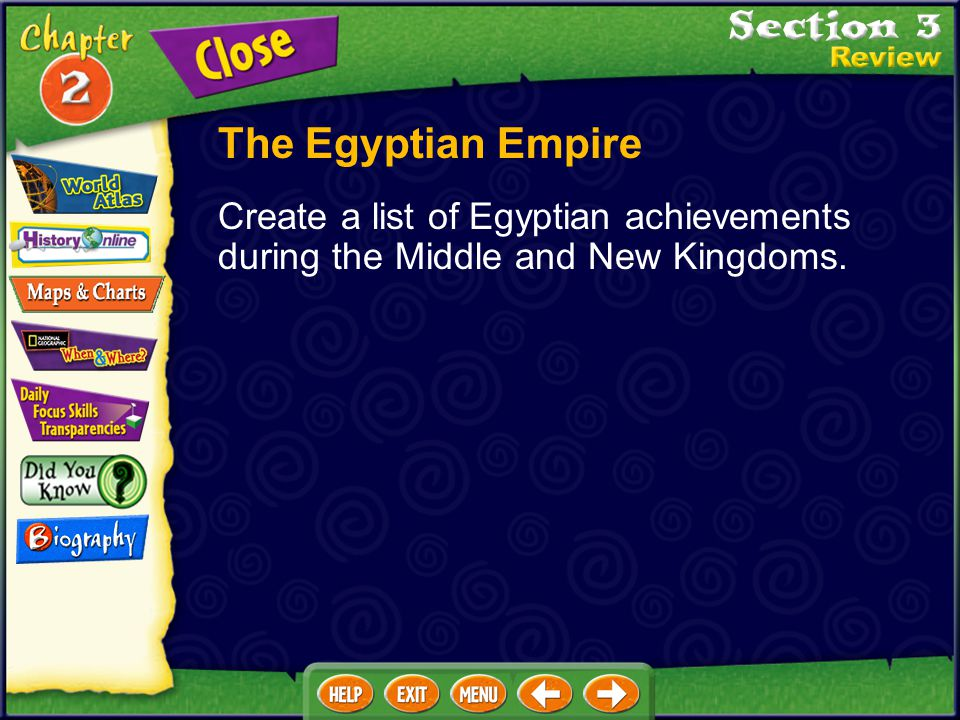 The Egyptian Empire Create a list of Egyptian achievements during the Middle and New Kingdoms.