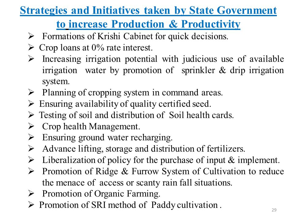 Strategies and Initiatives taken by State Government to increase Production & Productivity