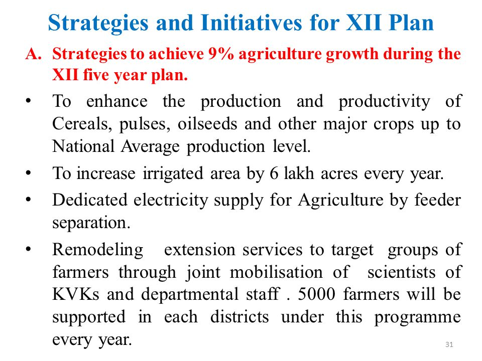 Strategies and Initiatives for XII Plan