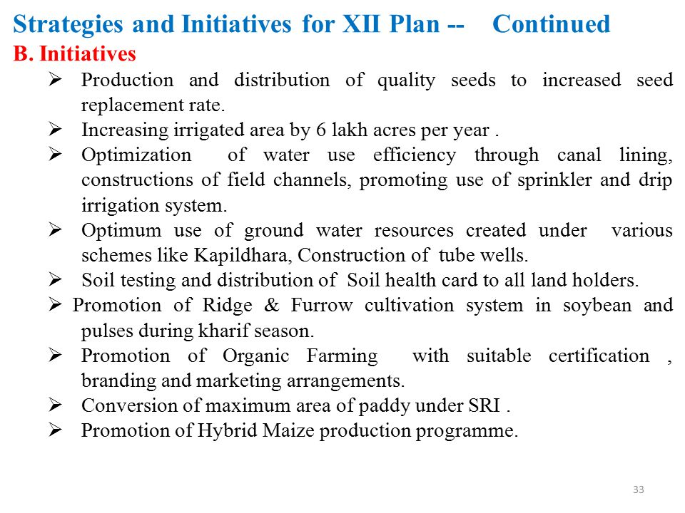 Strategies and Initiatives for XII Plan -- Continued