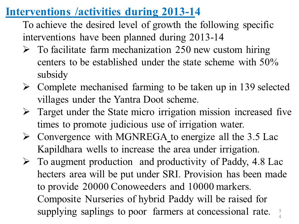 Interventions /activities during 2013-14