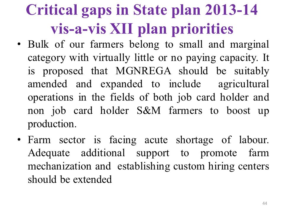 Critical gaps in State plan 2013-14 vis-a-vis XII plan priorities
