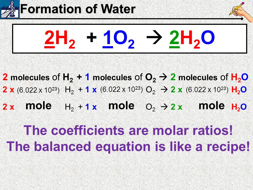2H2 + 1O2  2H2O The coefficients are molar ratios!