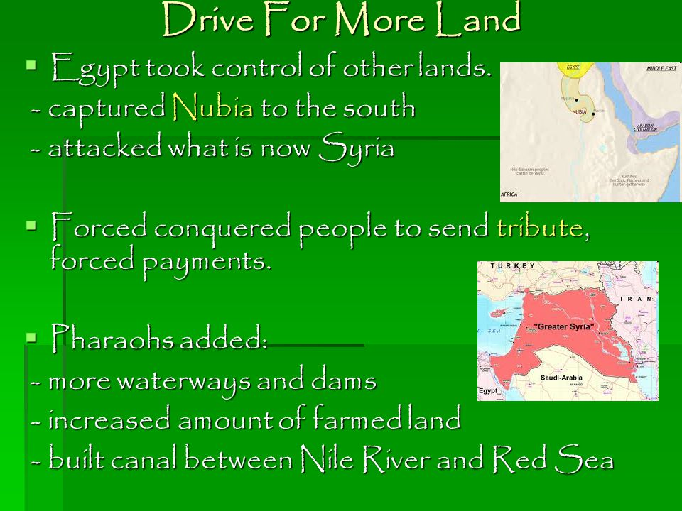 Drive For More Land Egypt took control of other lands.