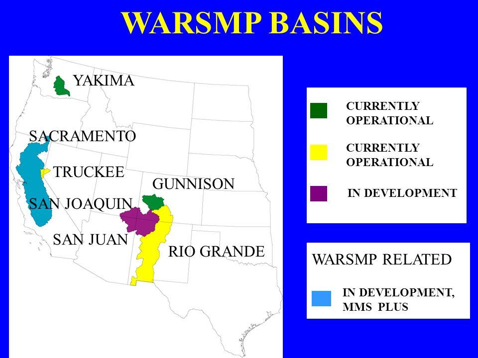 WARSMP BASINS YAKIMA SACRAMENTO TRUCKEE GUNNISON SAN JOAQUIN SAN JUAN