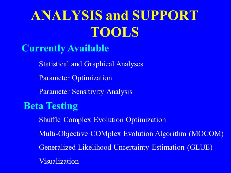 ANALYSIS and SUPPORT TOOLS