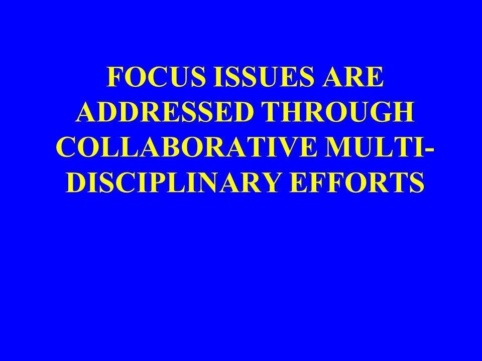FOCUS ISSUES ARE ADDRESSED THROUGH COLLABORATIVE MULTI-DISCIPLINARY EFFORTS