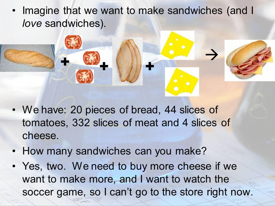 Imagine that we want to make sandwiches (and I love sandwiches).