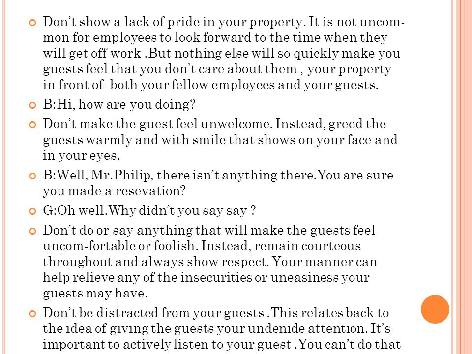 Don't show a lack of pride in your property