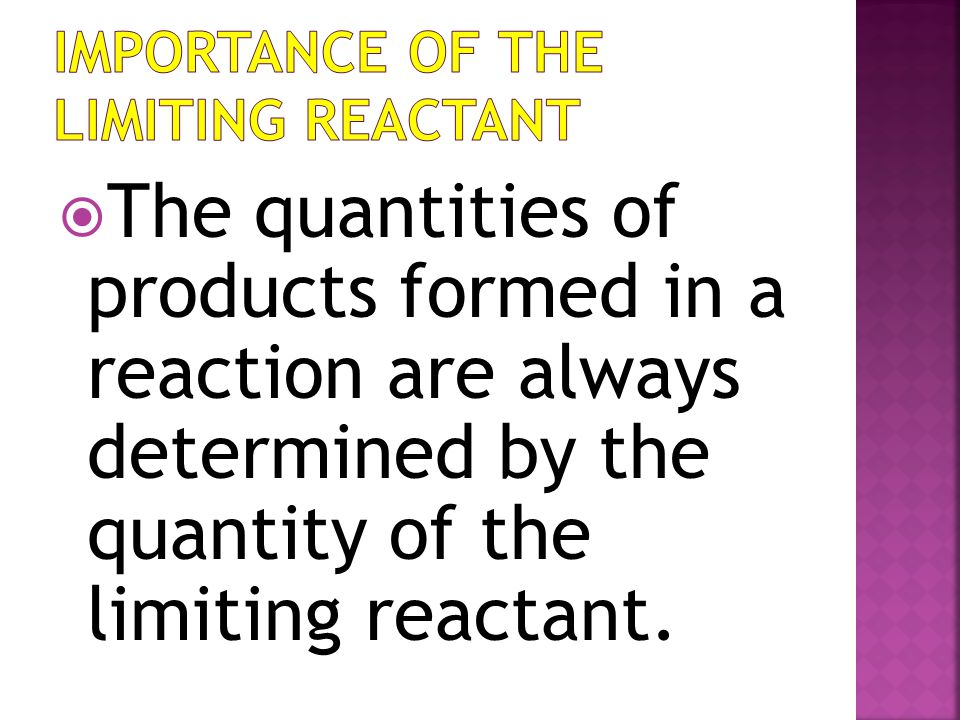 Importance of the Limiting Reactant