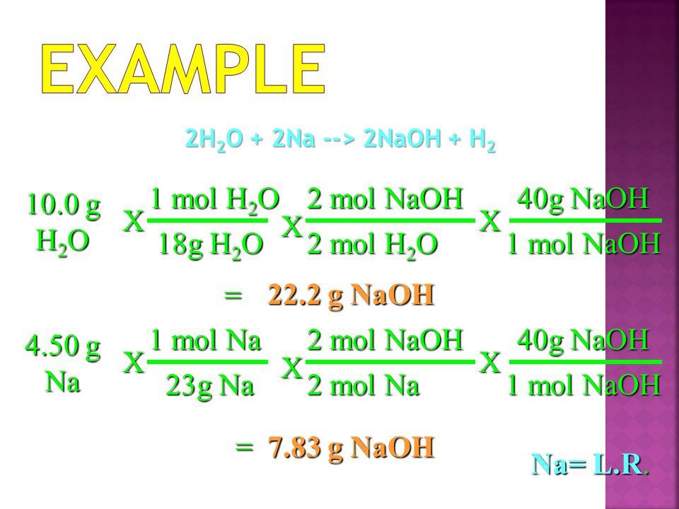 Example 1 mol H2O 2 mol NaOH 40g NaOH 10.0 g H2O X X X 18g H2O