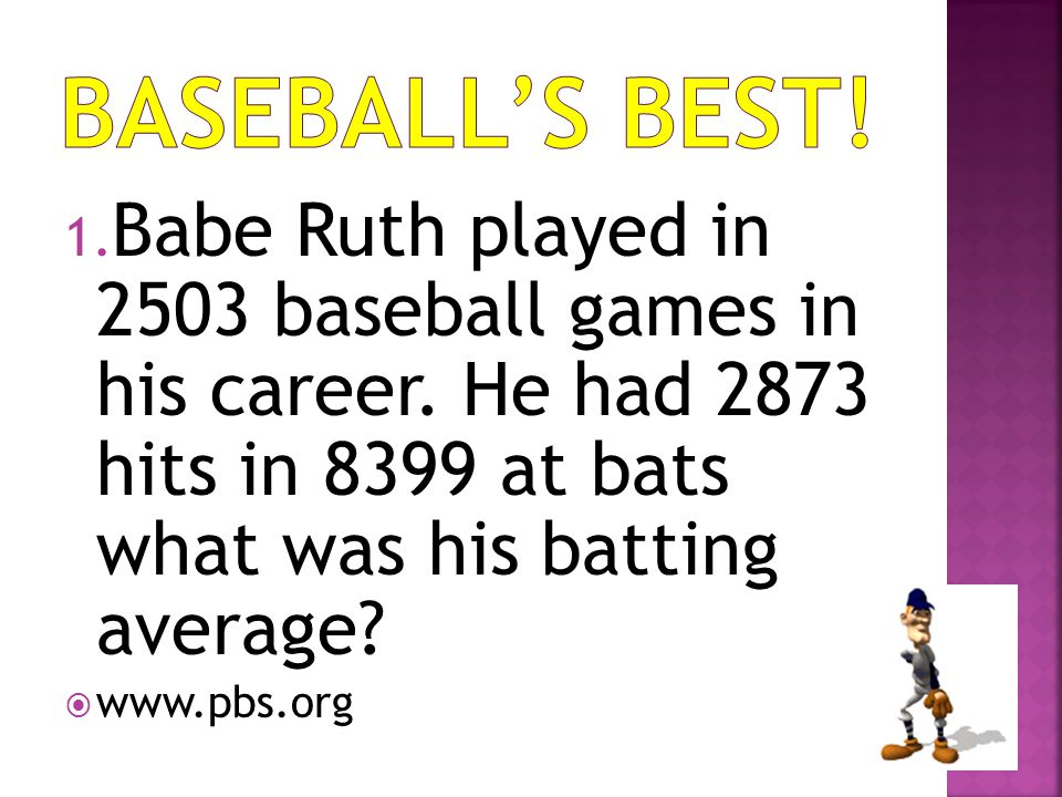 Baseball's Best! Babe Ruth played in 2503 baseball games in his career. He had 2873 hits in 8399 at bats what was his batting average