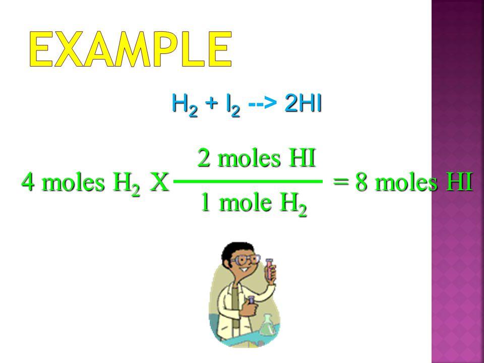 Example 2 moles HI 4 moles H2 X = 8 moles HI 1 mole H2