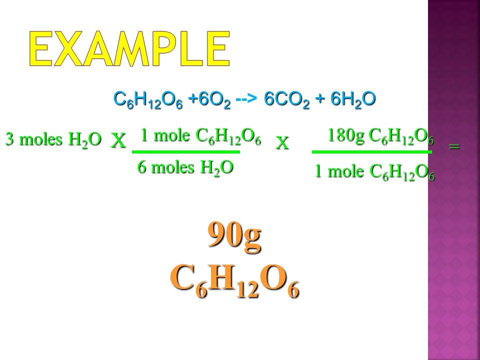 Example 90g C6H12O6 X C6H12O6 +6O2 --> 6CO2 + 6H2O 1 mole C6H12O6