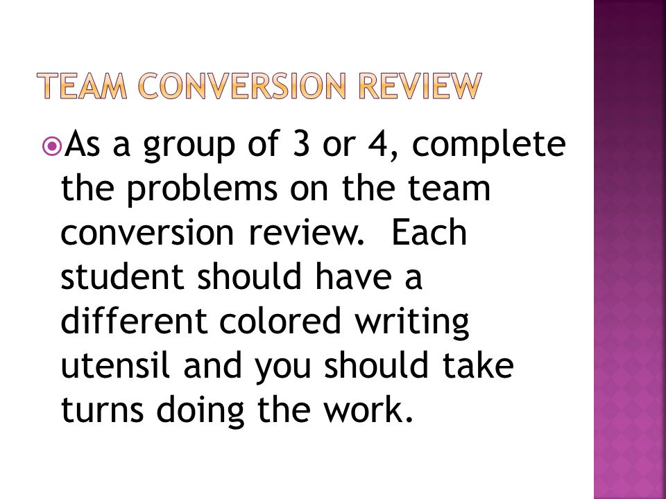 Team Conversion review