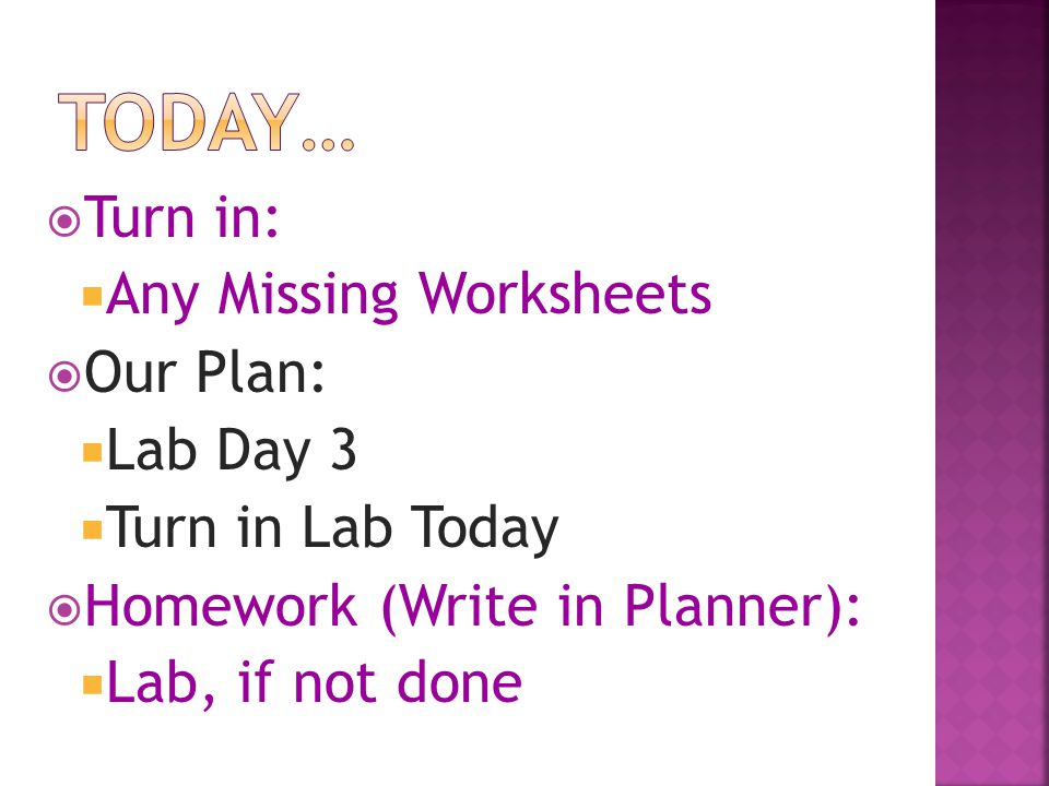 Today… Turn in: Any Missing Worksheets Our Plan: Lab Day 3