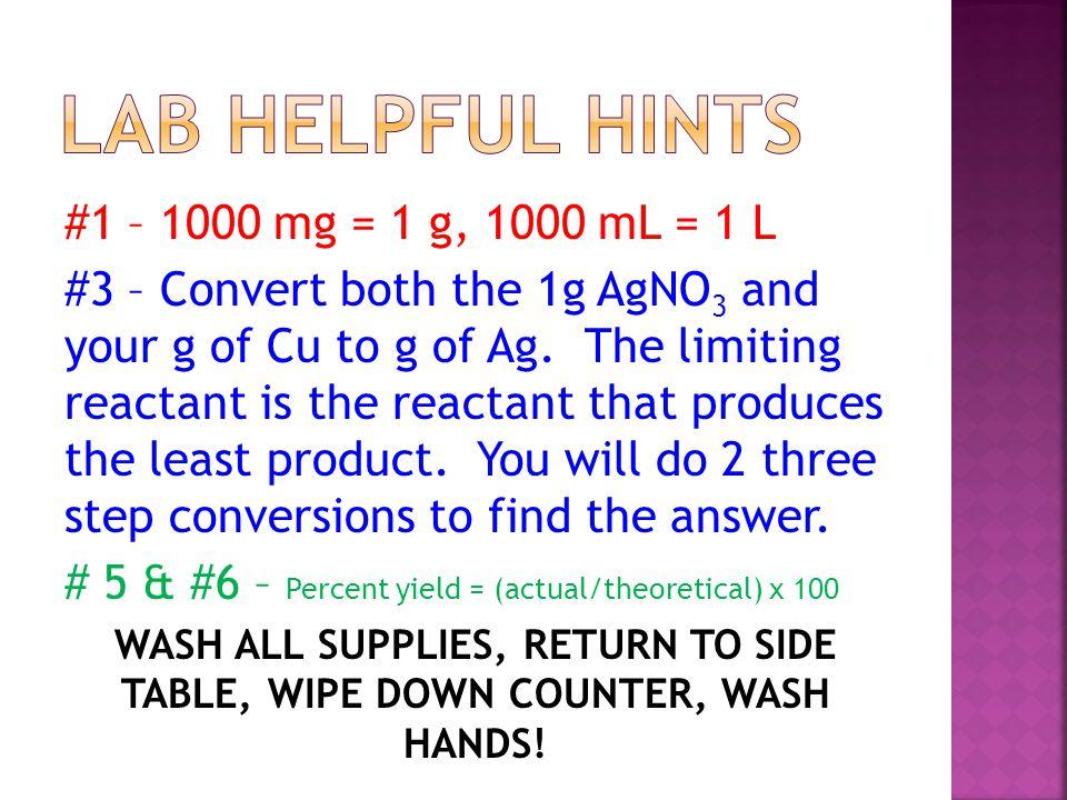Lab Helpful Hints #1 – 1000 mg = 1 g, 1000 mL = 1 L
