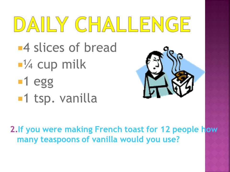 Daily Challenge 4 slices of bread ¼ cup milk 1 egg 1 tsp. vanilla