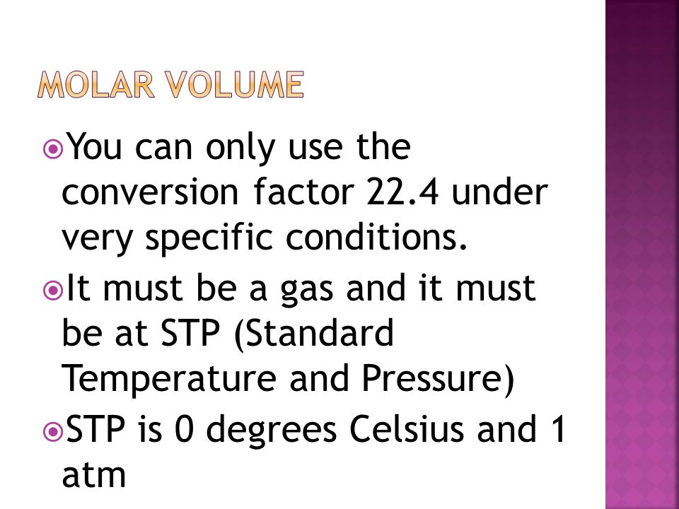 STP is 0 degrees Celsius and 1 atm