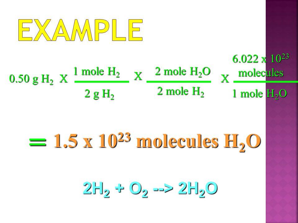 Example = 1.5 x 1023 molecules H2O 2H2 + O2 --> 2H2O