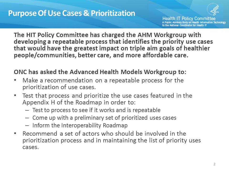 Purpose Of Use Cases & Prioritization