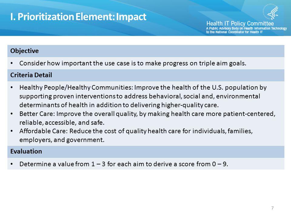 I. Prioritization Element: Impact