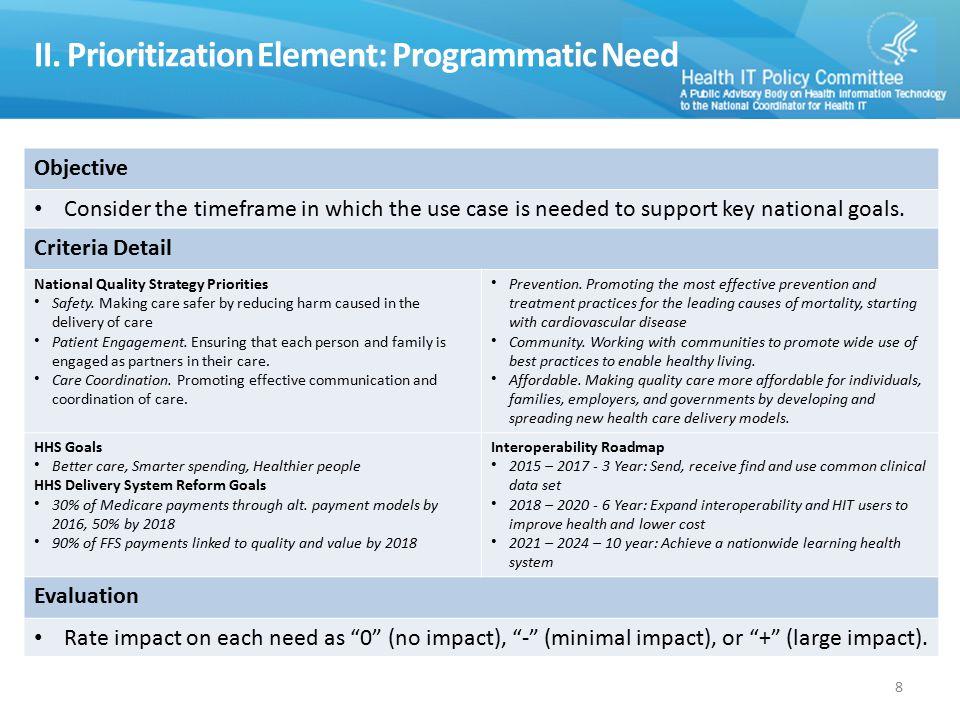 II. Prioritization Element: Programmatic Need