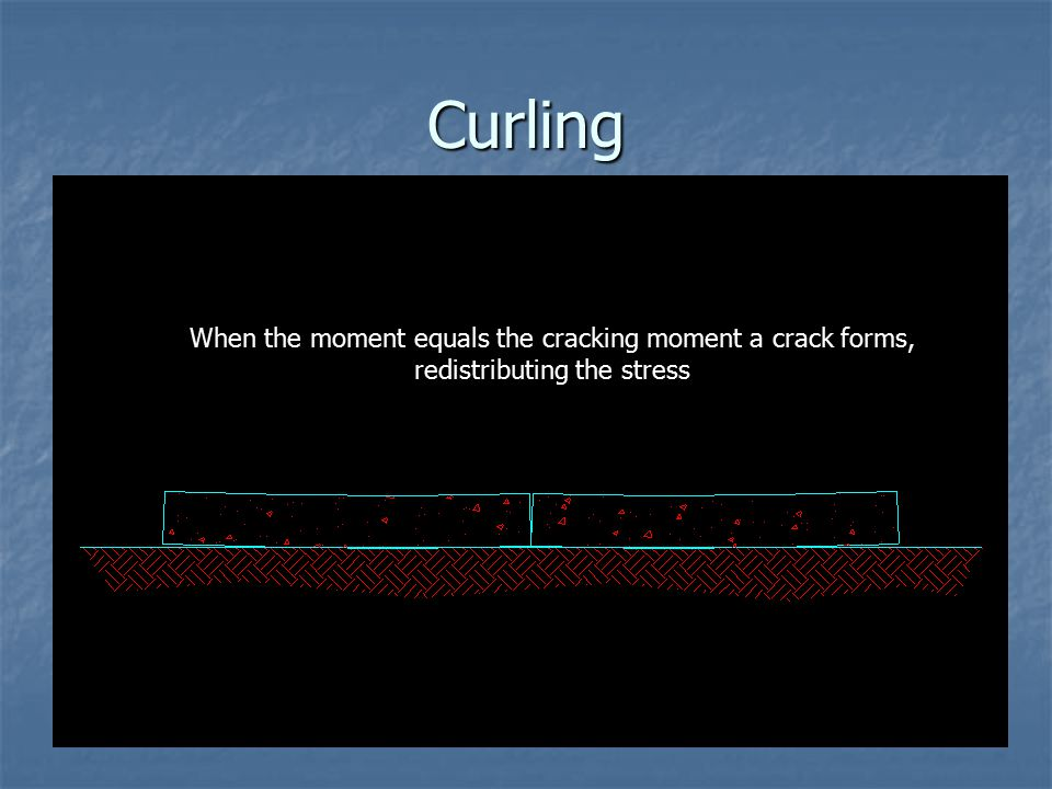 Curling Differential shrinkage due to drying can result in curling of the slab edges, resulting in an induced moment in the slab.