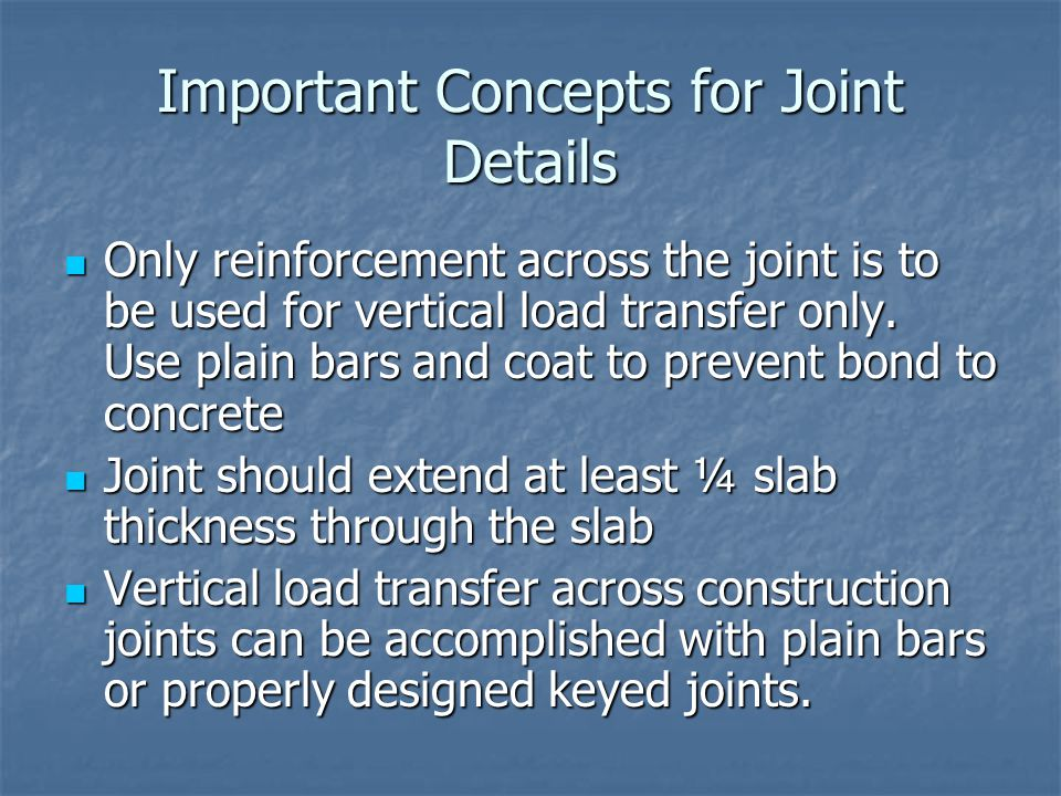 Important Concepts for Joint Details