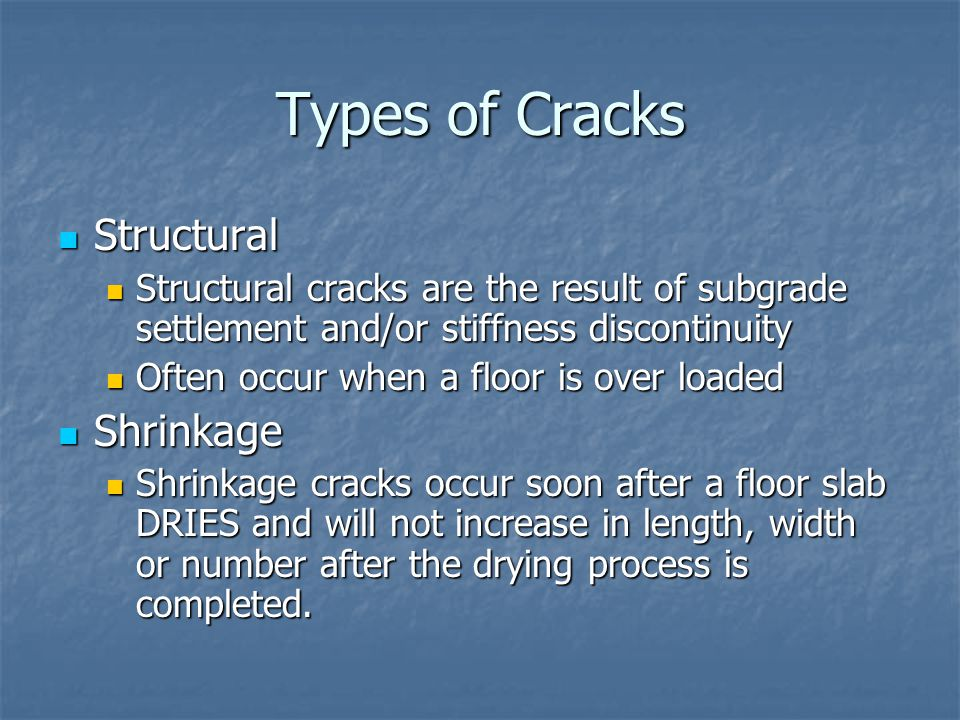 Types of Cracks Structural Shrinkage