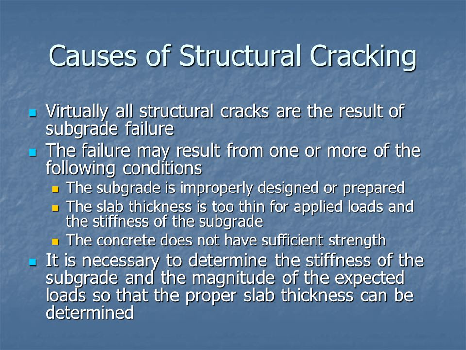 Causes of Structural Cracking