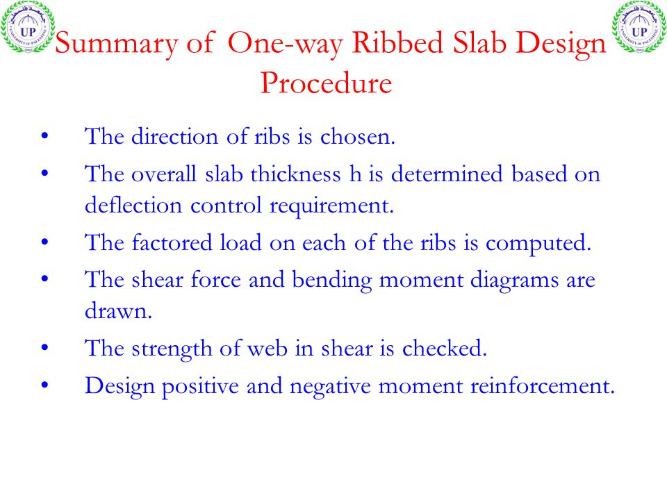 Summary of One-way Ribbed Slab Design Procedure