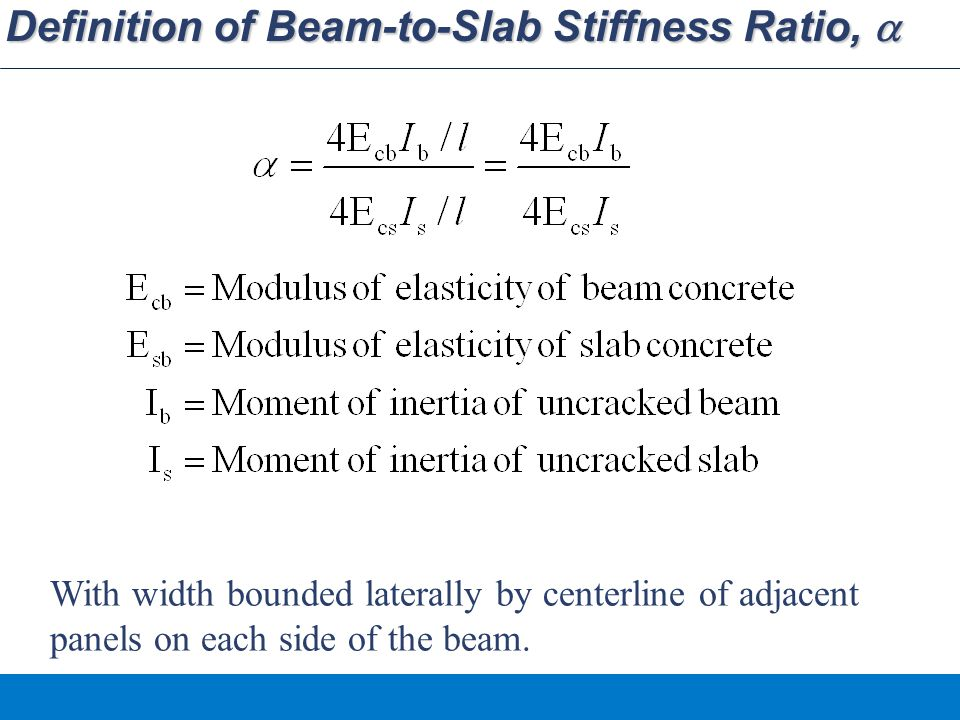Definition of Beam-to-Slab Stiffness Ratio, a