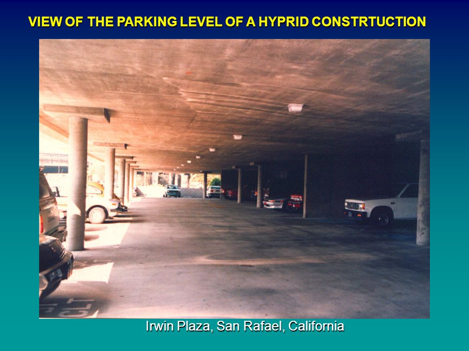 VIEW OF THE PARKING LEVEL OF A HYPRID CONSTRTUCTION