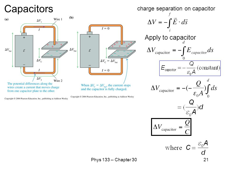 Capacitors Apply to capacitor charge separation on capacitor
