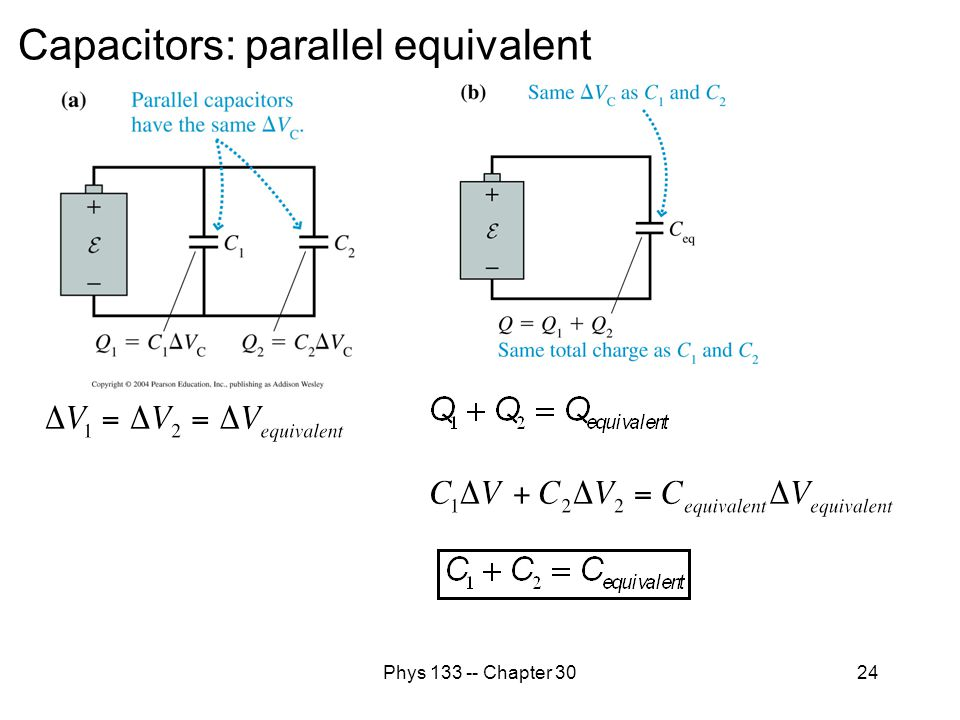 Capacitors: parallel equivalent