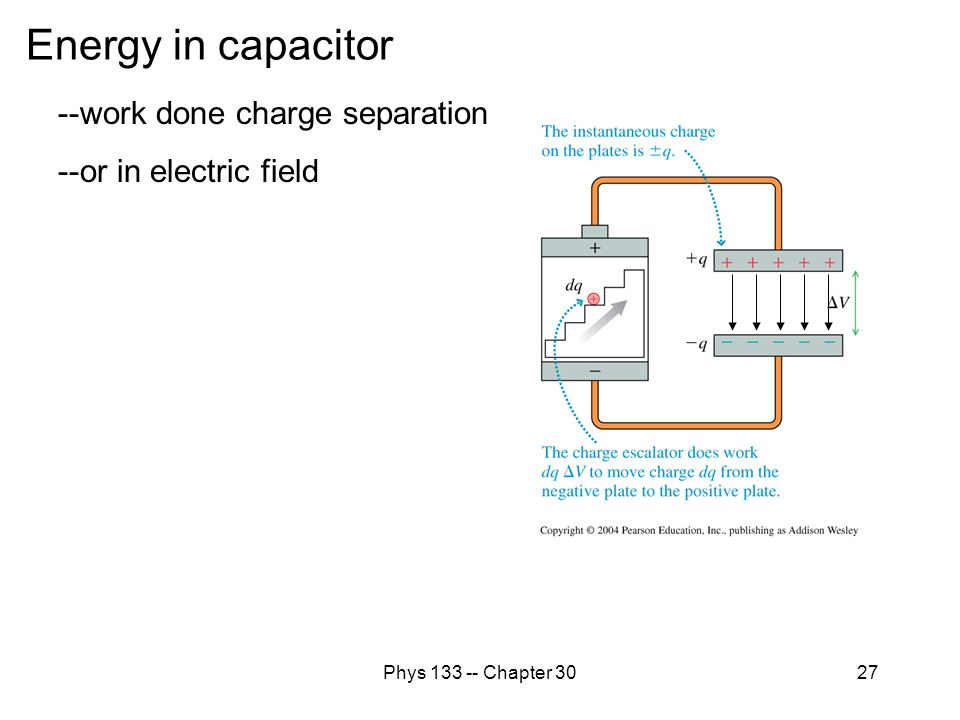 Energy in capacitor --work done charge separation